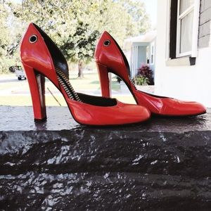 Vintage Stella McCartney Red Vinyl Pumps Heels 90s
